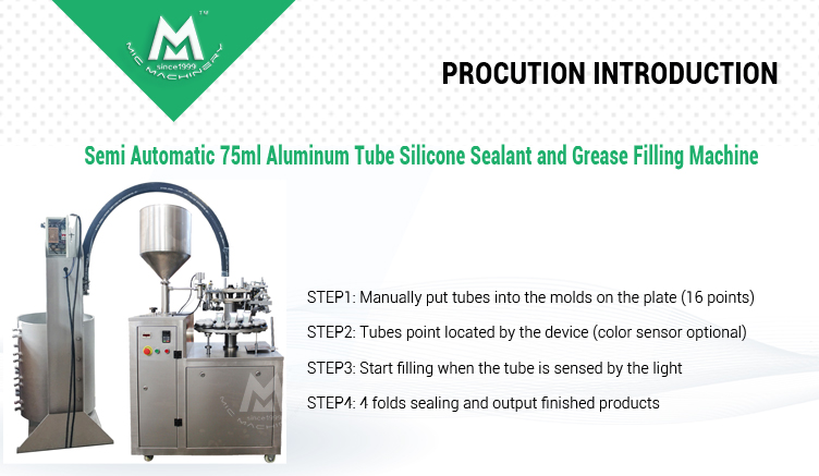 Semi Automatic 75ml Aluminum Tube Silicone Sealant and Grease Filling Machine