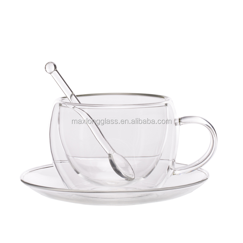 Double wall glass tea cup 180ml with saucer and spoon