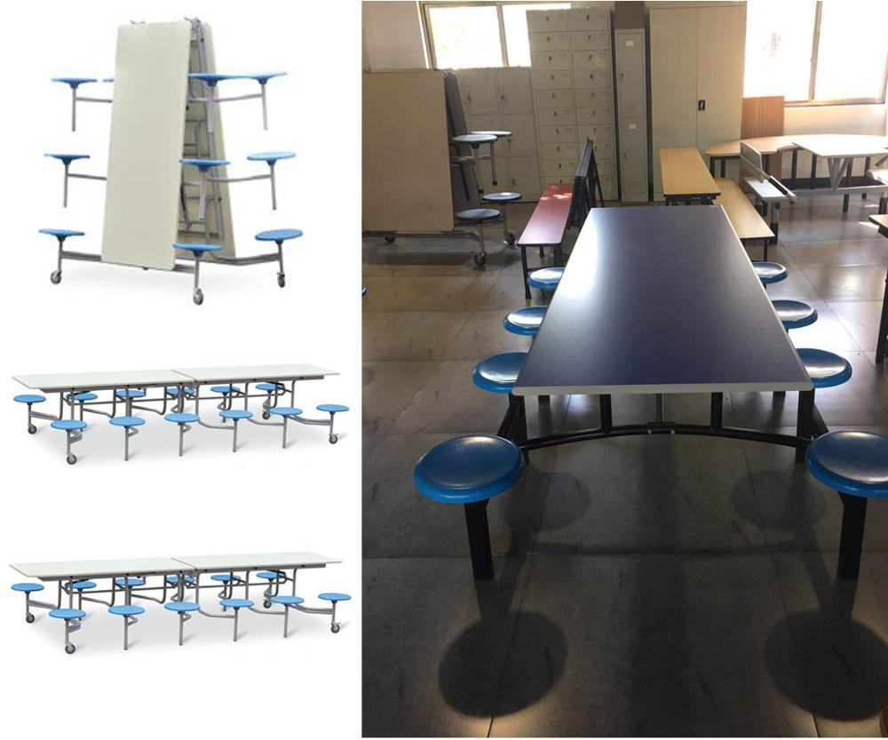 square shape multi seats Folding Dining table Cafeteria table with 6 12seats  for dinning furniture