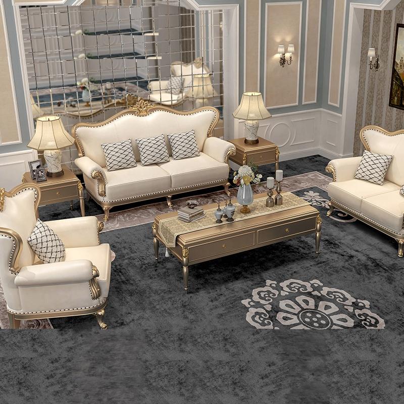 फ्रेंच शैली कमरे में रहने वाले सोफे सेट प्राचीन ठोस लकड़ी के नक्काशीदार सोफे क्लासिक होटल की लॉबी 3 + 2 + 1 सोफे