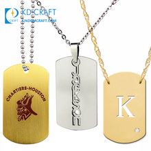 Benutzerdefinierte metall titan sublimation leer dogtag keychain emaille sterl silber gold fußball diamant mann military dogtag mit kette