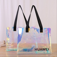 custom transparent PVC shopping bag holographic pvc tote bag
