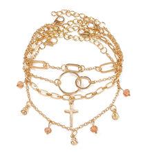 17 км многослойный браслет на лодыжку звезда набор для женщин богемный Серебряный Цвет Кристалл бисера ножной браслет цепь с плетением «баб...(Китай)
