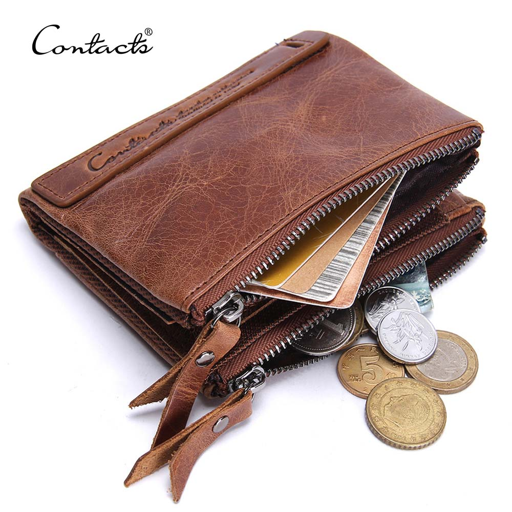 contact's dropship wholesale vintage fashion high quality crazy horse leather brown bifold leather men's <strong>wallet</strong> with cion pocket