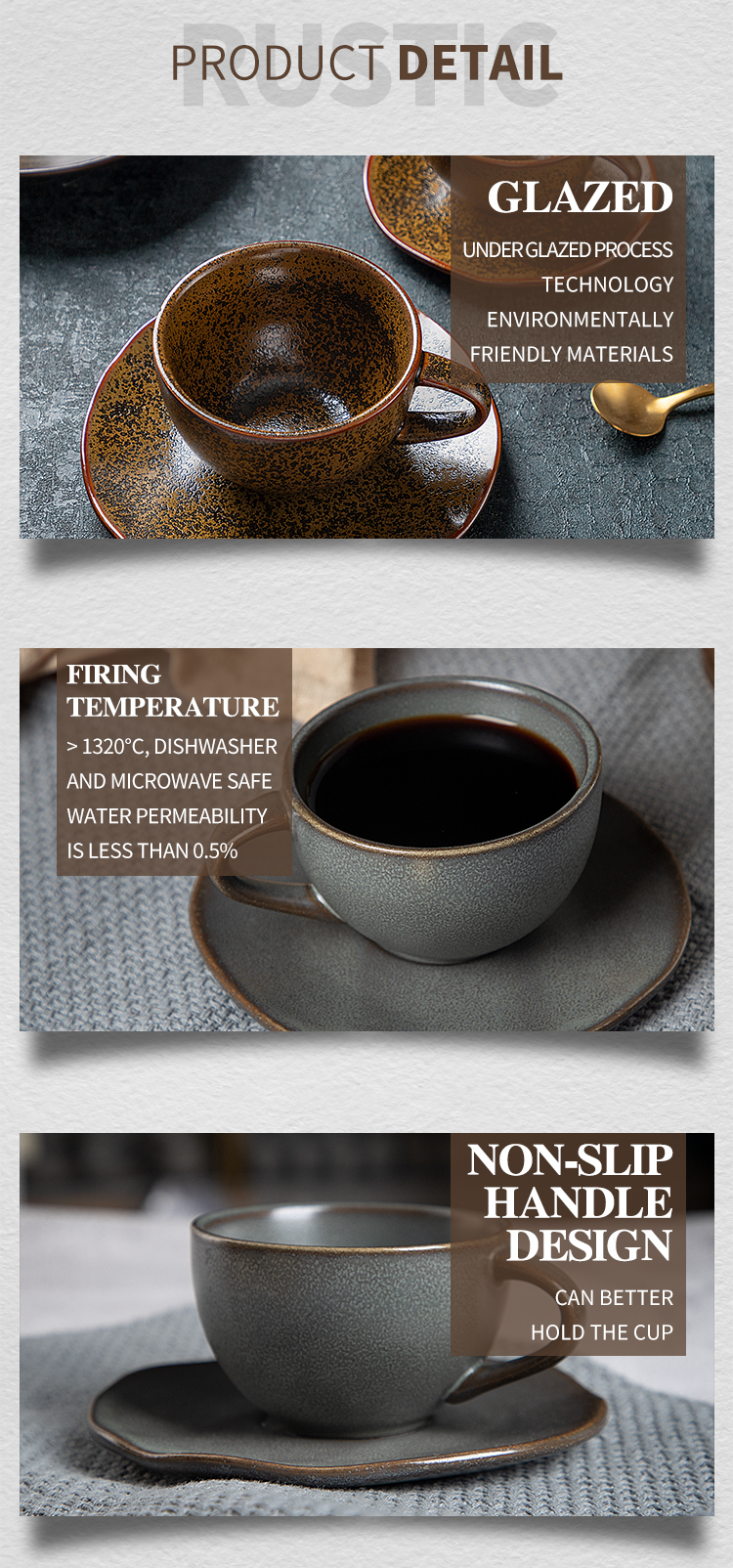 product-2020 New Trend Porcelain Coffee Cup And Saucer, Color Tableware Coffee Cup Hotel, Rustic Din-1