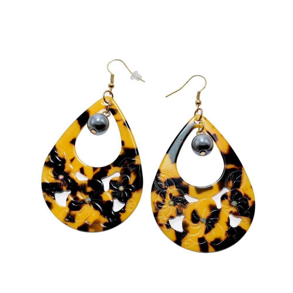 New Hawaii flower earring acetate acrylic celluloid earring black tahitian loose pearl tear drop tortoise shell earring