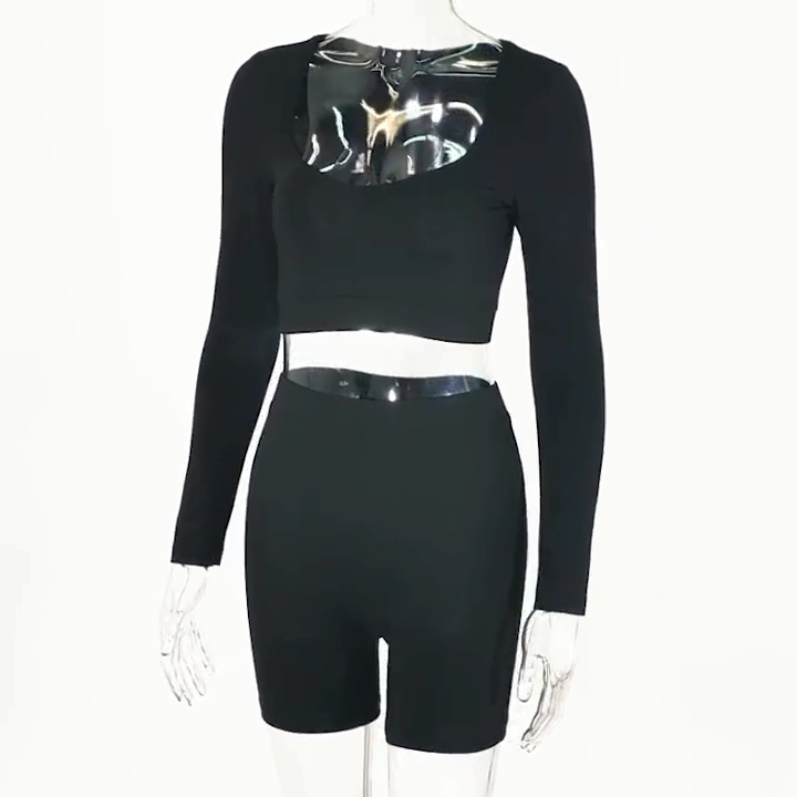 women clothing two piece set crop top and shorts pants Slim Sport tracksuit girls 2 pieces outfits matching sets