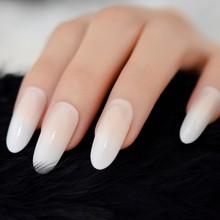 Удлиненные блестящие накладные ногти с Блестящими Белыми французскими накладными ногтями, предварительно спроектированные наклейки на на...(Китай)