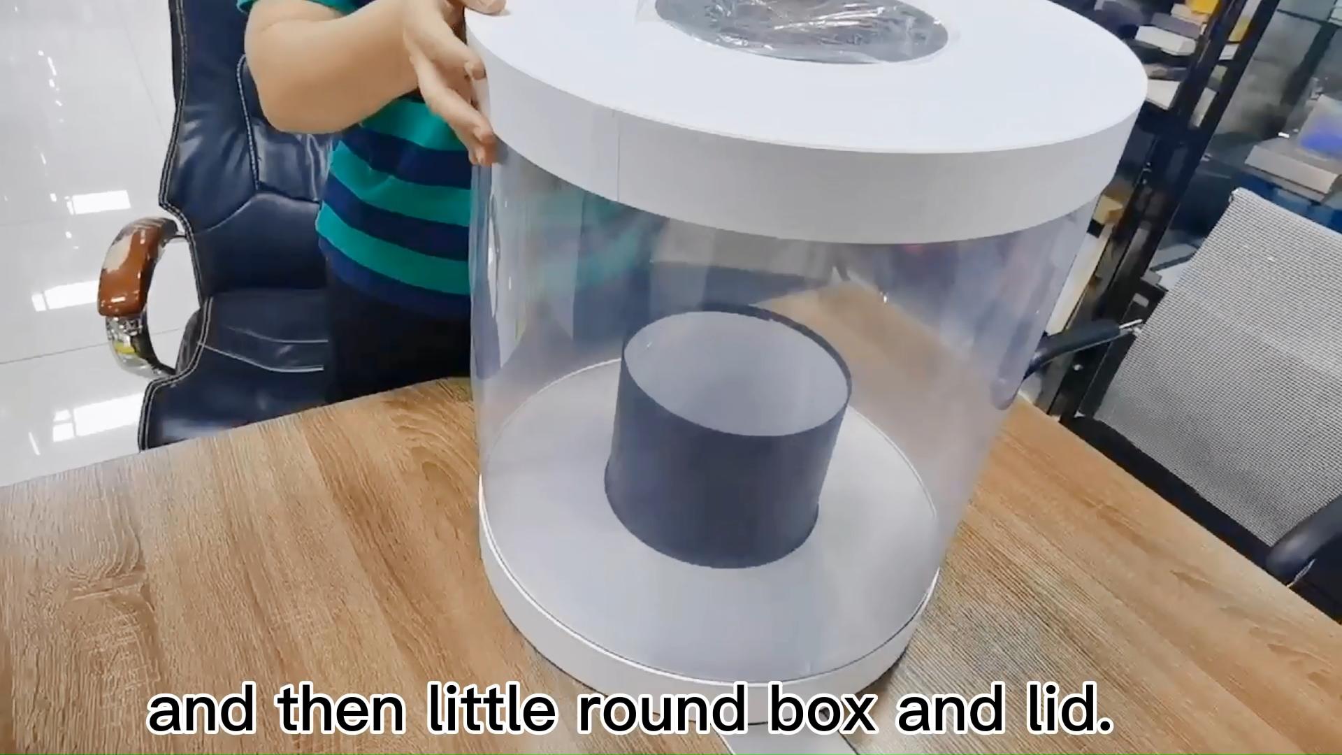 Горячая продажа прозрачный пластиковый сохраненный букет круглый подарок ПВХ упаковочная коробка для цветов с ручкой из ленты