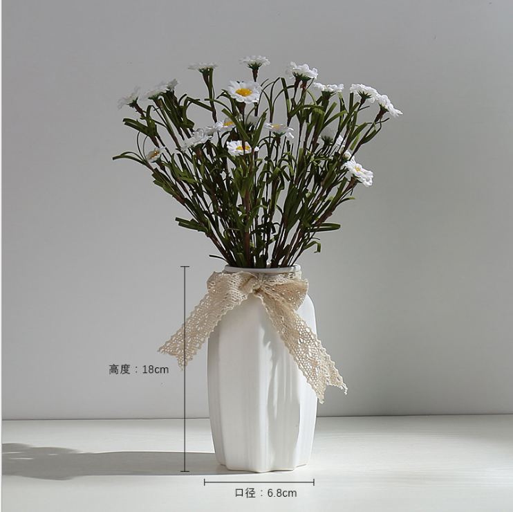 Literary white fresh dry hydroponic flower flower arrangement starry living room modern decoration porcelain fiber vase ceramic