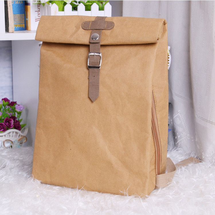 Unbreakable travel business computer bag washable kraft paper backpack