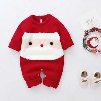 Unisex knit Christmas baby jumpsuit knitted child baby boys and girls new design toddler romper