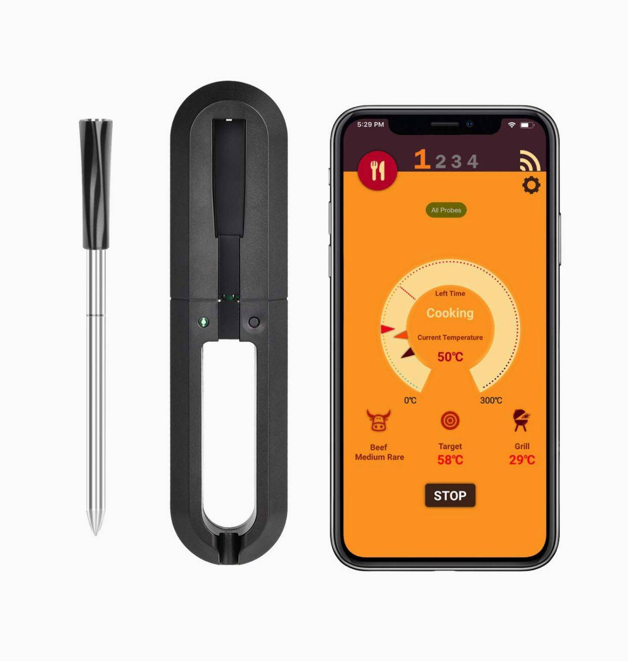 Instant Read Bluetooth Kitchen Meat Cooking Thermometer for Oven BBQ