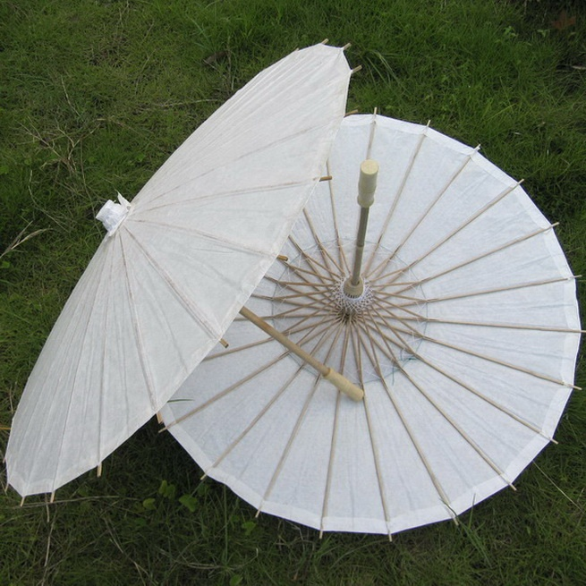 Chinois PAPIER ET BAMBOU Parasol-Mariage Blanc