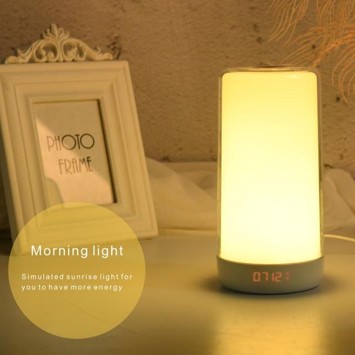 2020 New Arrival Three Layer Glass Night Lamp Clock Mini Portable Wake Up Light with Dual Digital Alarm Clock