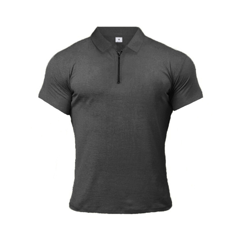 Sport Shirt Men Rashgard Zipper Neck Fitness Tshirts Running T Shirt Sport Bodybuilding Gym Training Shirt