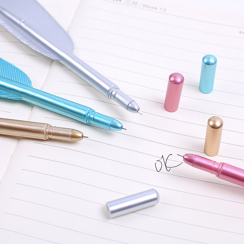 Plastic feather shape pen for school learning office work Cheap custom Promotional pen writing gift