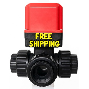 Shipping Free DC24V AC220V DN25-50 Electromagnetic Valve 3 Way Motorized Electric Ball Valve 1 Inch Water Valve