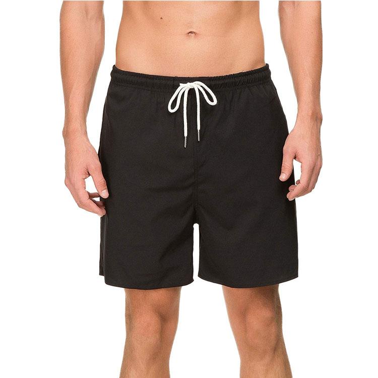 Mens Swim Trunks Quick Dry Beach Board Shorts Waterproof Swim Shorts Black Solid  with Mesh Lining/Pockets