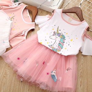 Wholesale Fashion Cute Kids Children Beautiful Summer Clothing Top And Skirt Two-piece Girls Set