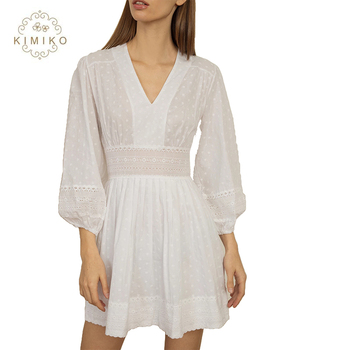 Pretty Mini Dress With Scalloped Hem And Embroidered Waist Panel