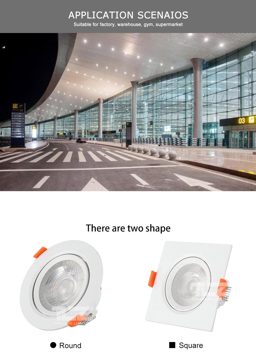 3w 5w 7w 9w 10w 12w 15w 18w aluminum round square ceiling recessed led cob spot light