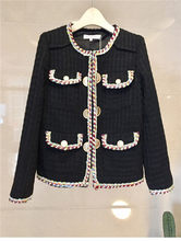 Женский твидовый Блейзер, белый, черный, осенне-зимний шерстяной пиджак, роскошный модельный дизайнерский женский пиджак, верхняя одежда, ...(Китай)