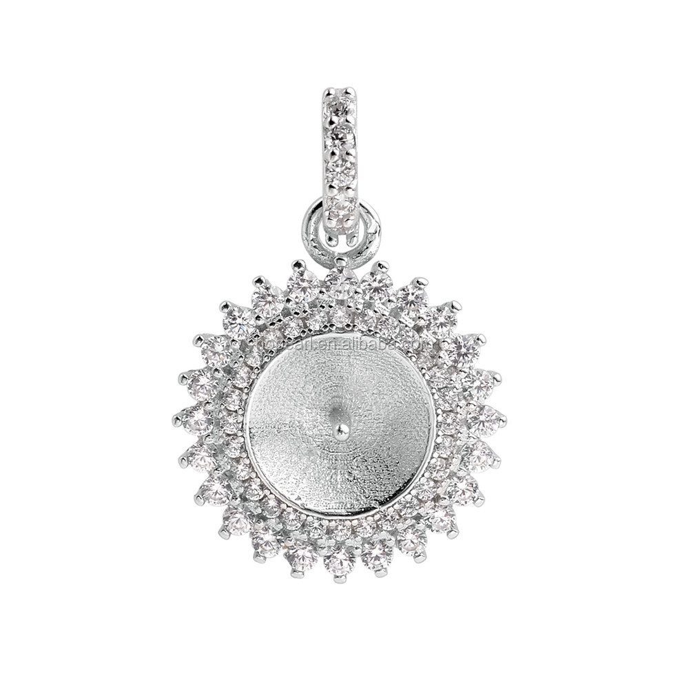 SSP231 Two Layer Zircons Surrounded Sparkling Pendant Base 925 Sterling Silver Pearl Mounts