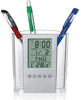 Acrylic Office Cylindrical Desktop Pen Stand Desk Pen Holder with Digital Alarm Clock Calendar