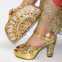 SN356 The latest gold color elegant high heels italian bag matching shoes set for african lady's evening party