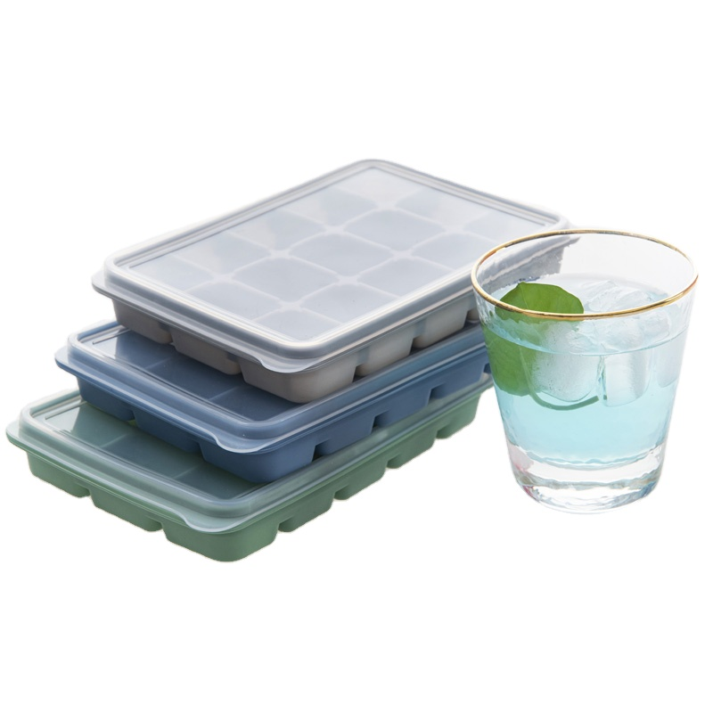 15 Grid White Silicone Easy Release Square Large Ice Cube Tray Ice Ball Mold Maker With Lids