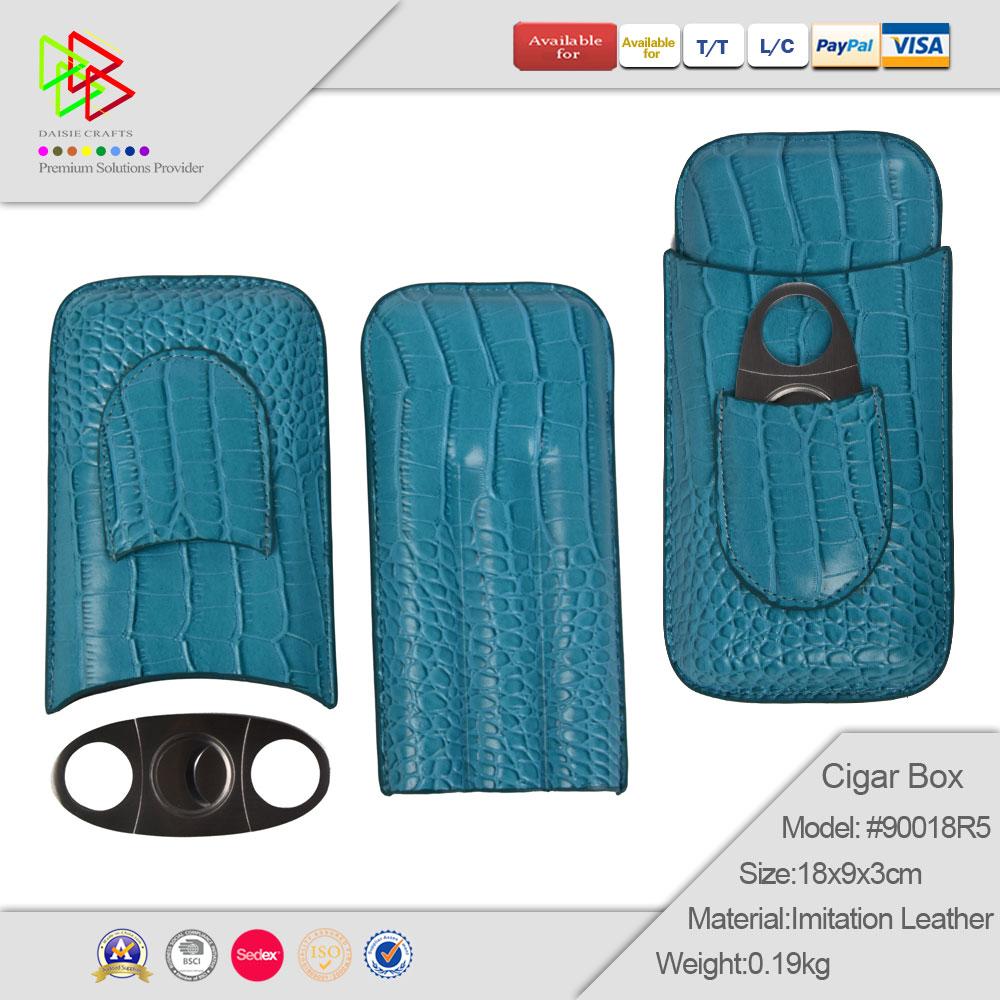 Wholesale Custom Blue 3 Slot Leather Cigar Box Cigar Case Humidor