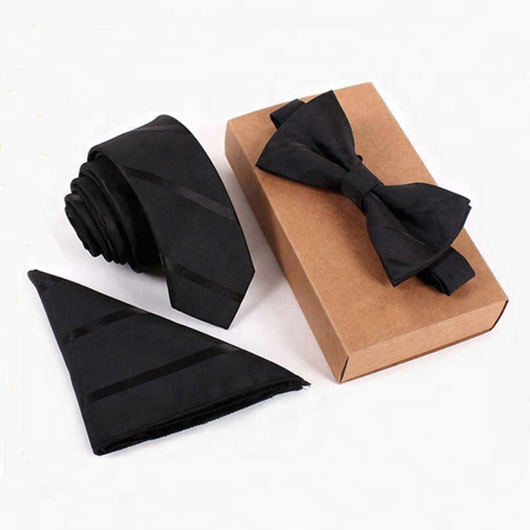 Newest handmade soft various fashion tie bow tie and pocket square set