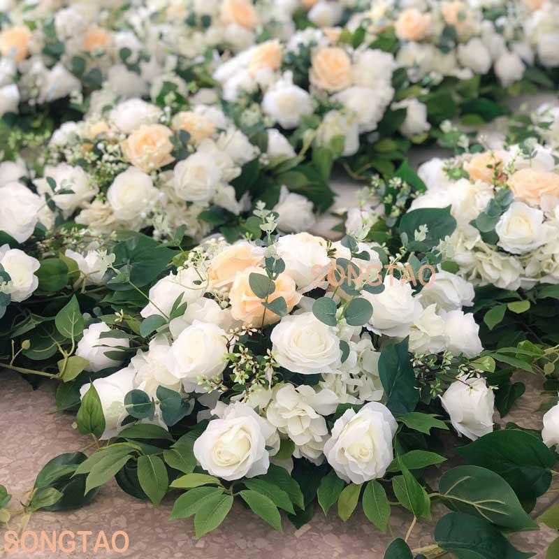 Pas cher 50Cm D'hortensia En Soie Artificielle Imitation Tête de Fleur De Pivoine Pour Hôtels Et Mariage