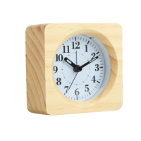 Wood Made Modern Small Square Silent Analog Bedroom Bedside Table Desk Wooden Alarm Clock