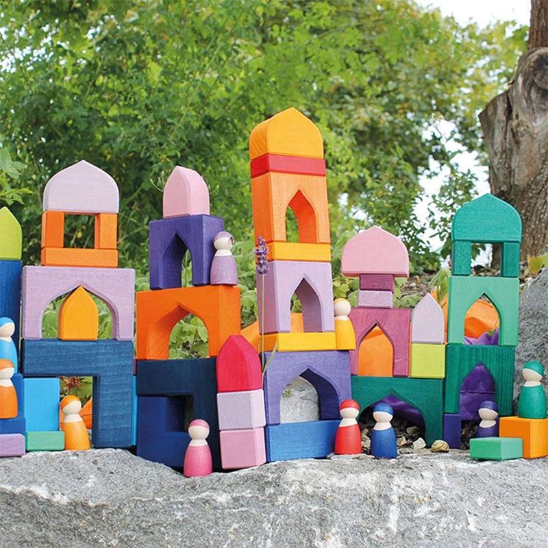 Nesting Puzzle Wooden Building Blocks Stacker Large 1001 Nights castle Building Set