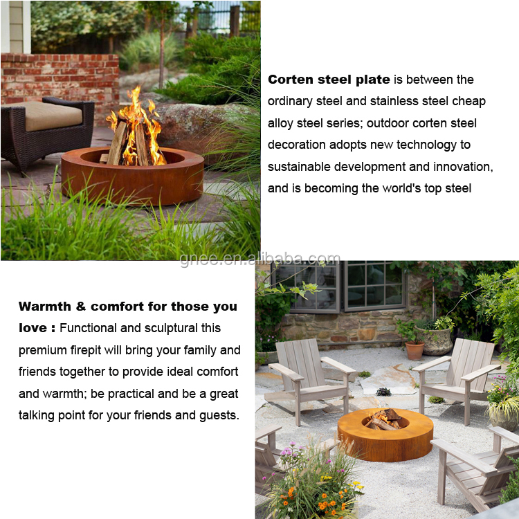 Garden Round Outdoor Fire Bowl Wood Corten Steel Fire Pit