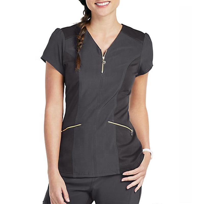 custom sexy female zipper front cherished v-neck nurse scrub top and pants hospitaluniforms