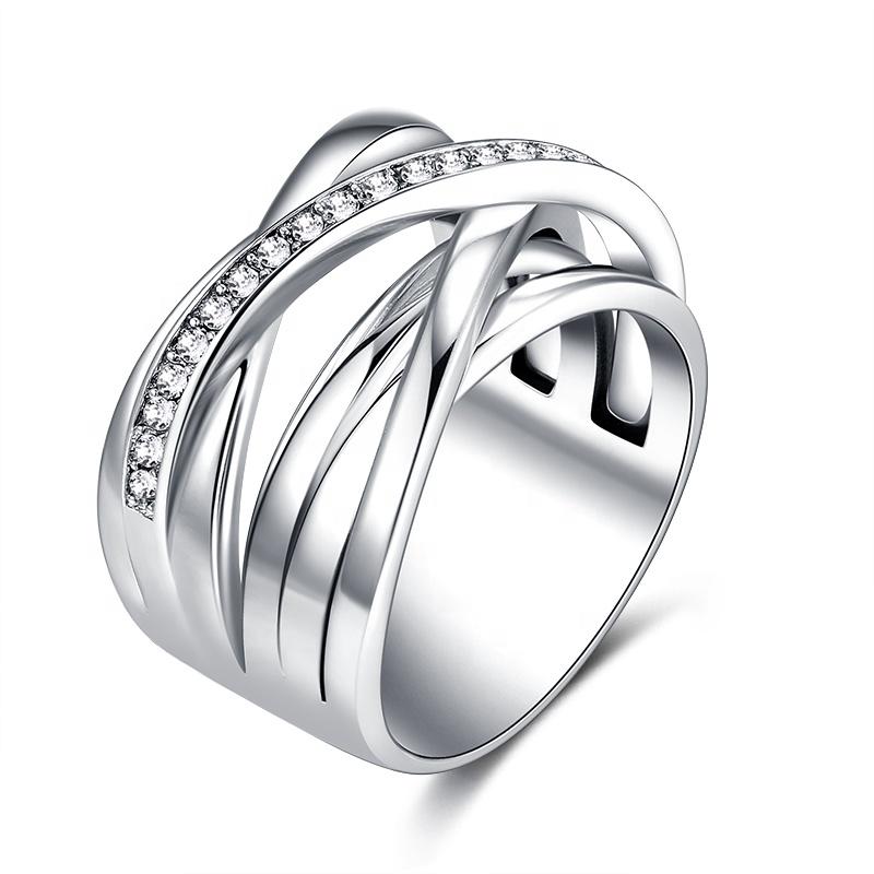 Mais recente Design de Jóias de Moda Feminina de Luxo 316L Aço Inoxidável Anéis De Noivado de Diamante