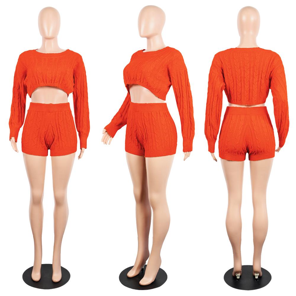 HAOYUAN/женский комплект из двух предметов, пикантная Клубная одежда, свитер, укороченный топ и байкерские шорты, трикотажная одежда, спортивны...(Китай)