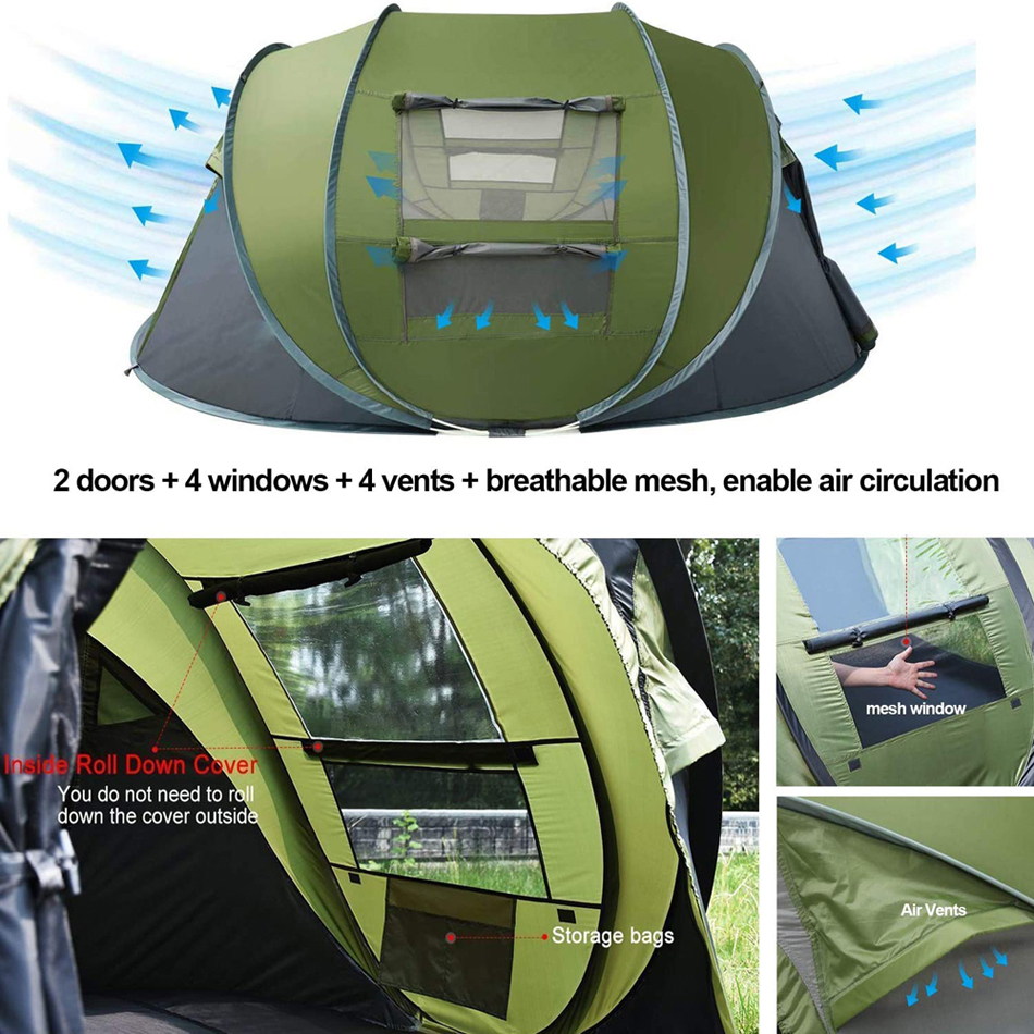 4 Person High Quality Automatic Pop Up Outdoor Camping Tent, Automatic Outdoor Pop-up Tent for Camping Waterproof Tent