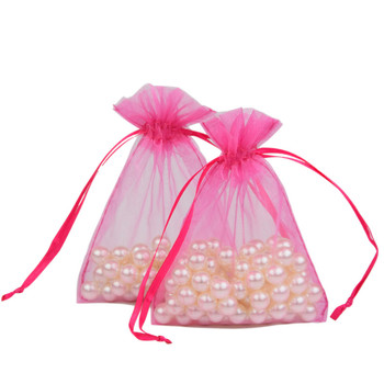 customized logo printing 3x4 inch 7.5x10 cm light pink organza bags