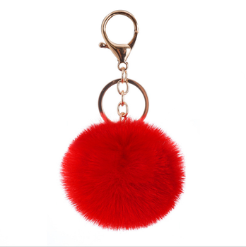 Fashion Design Black Fluffy Fox Furry Bag Fuzzy Keyring Handbag Charm Large Puffs Ball Pompoms Keychains