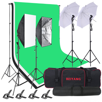 8.5x10ft/2.6x3M 2400W 5500K Softbox Lighting Kit Background Support System with Three 100% cotton backdrop green Photo screen