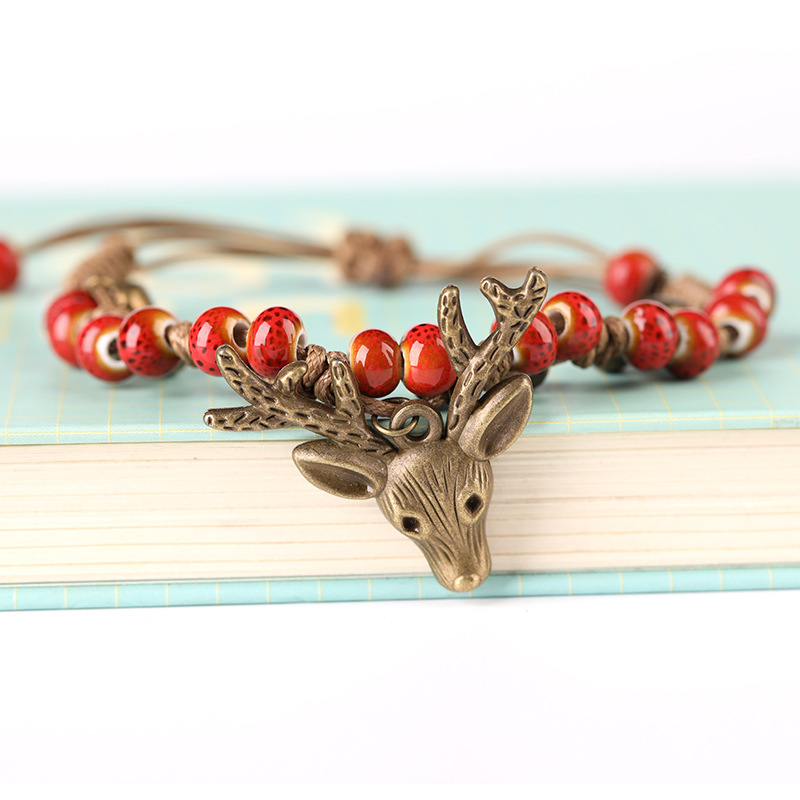 Simple Design Vintage National Colorful Geometry Ceramic Beads Hollow Out Leaf Pendant Handmade Weave Bracelets For Ladies