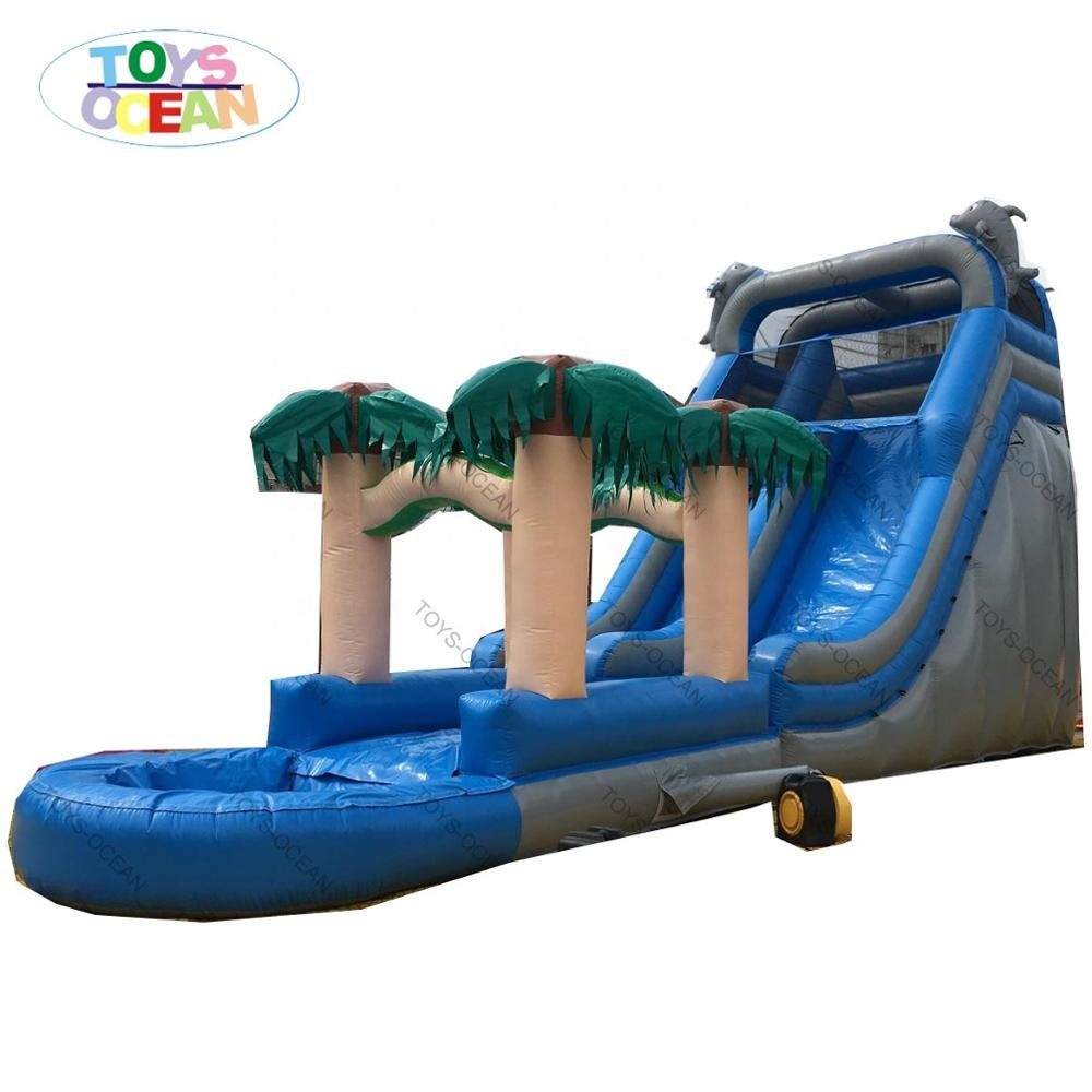 New Design Jungle Forest Palm Tree large  inflatable water slide for adult wild rapids water slide