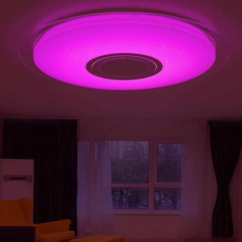 LED Music Ceiling Light RGB Bluetooth Speaker Lamp Home Party Bedroom 30W Dimmable APP Smart Lighting 40*40*10cm