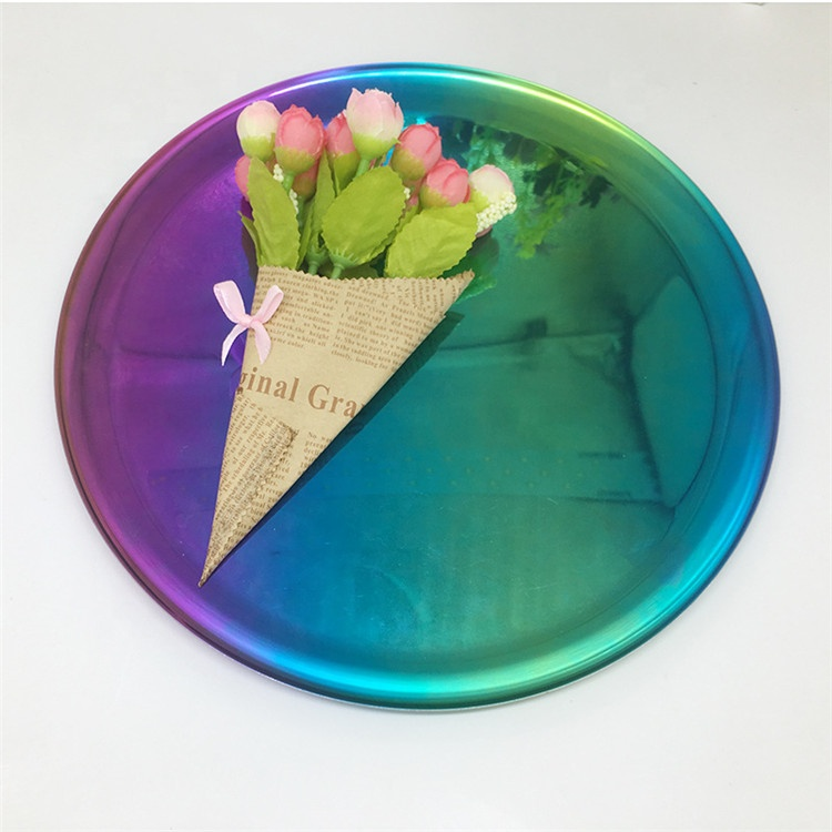 Bread Dessert Rainbow Colorful Plate Wedding customized 2019 New Products Round Metal Jewelry ring holder stand MP-03