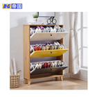 Swing door simple design floor shoes organizer cabinet with wood legs