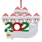 Family 2020 Quarantine Personalized Ornaments Survivor Family Of 5 With Face Hand Sanitized Christmas Ornament